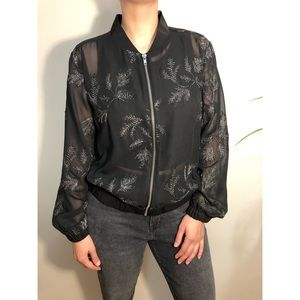 Jackets & Blazers - Sheer black and silver embroidered bomber